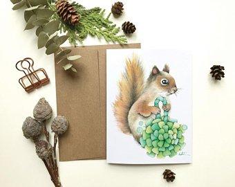 Katrinn pelletier illustration art, écureuil, carte, cadeau, enseignant, éducatrice