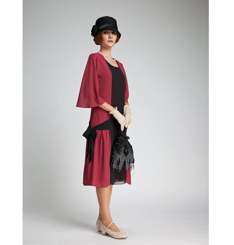 Maroon & black gastby dress 1920s