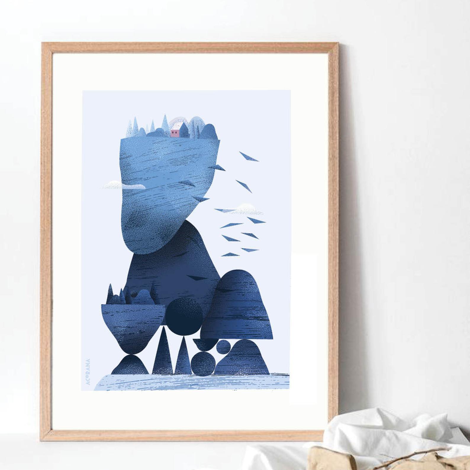 Blue seascape poster