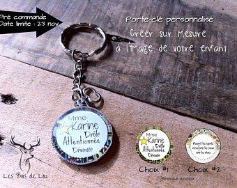 Les bois de lou, Porte-clé, cadeau, enseignant, éducatrice, noël, rond