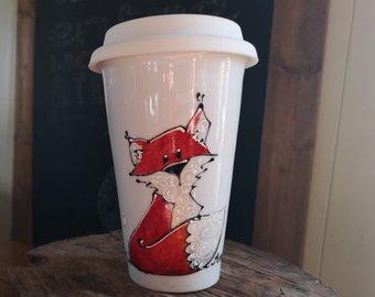Anou, renard, tasse, peint à la main, cadeau, enseignant, éducatrice