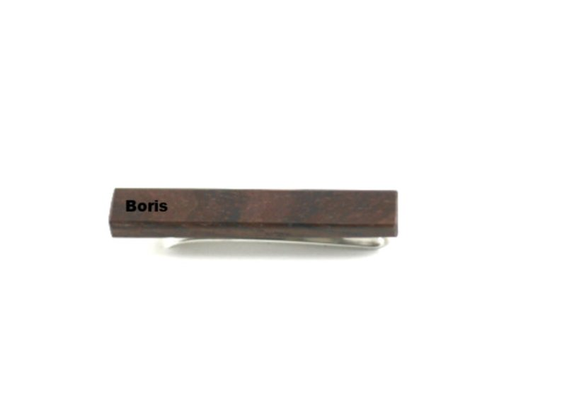 Personalized wooden tie clip - Angie Wood Creations