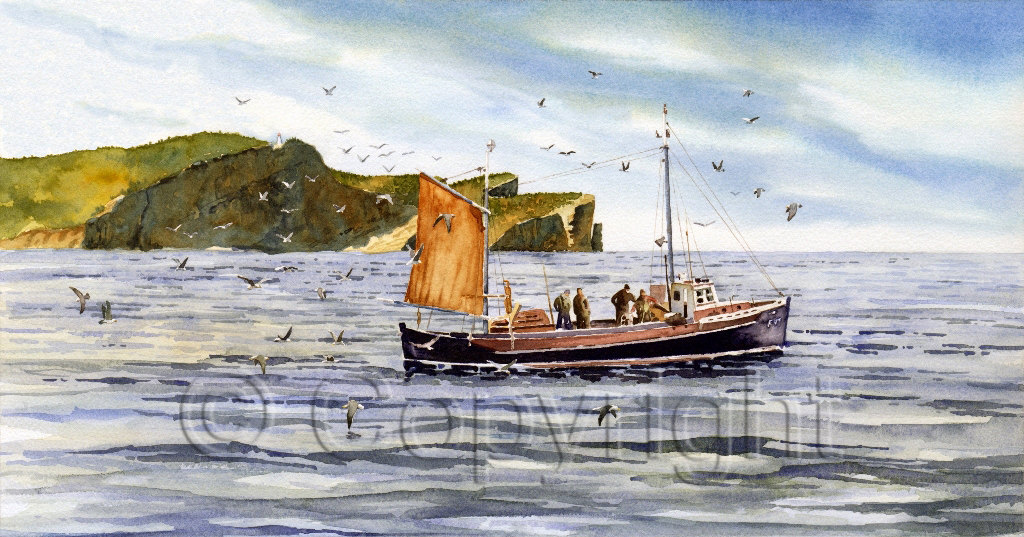 Impression giclée d'un bateau de pêcheurs, offerte par ClaudeCoteArt