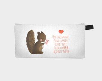 Tomélico créations, écureuil, blanc, étuit, maquillage, enseignant, éducatrice, cadeau