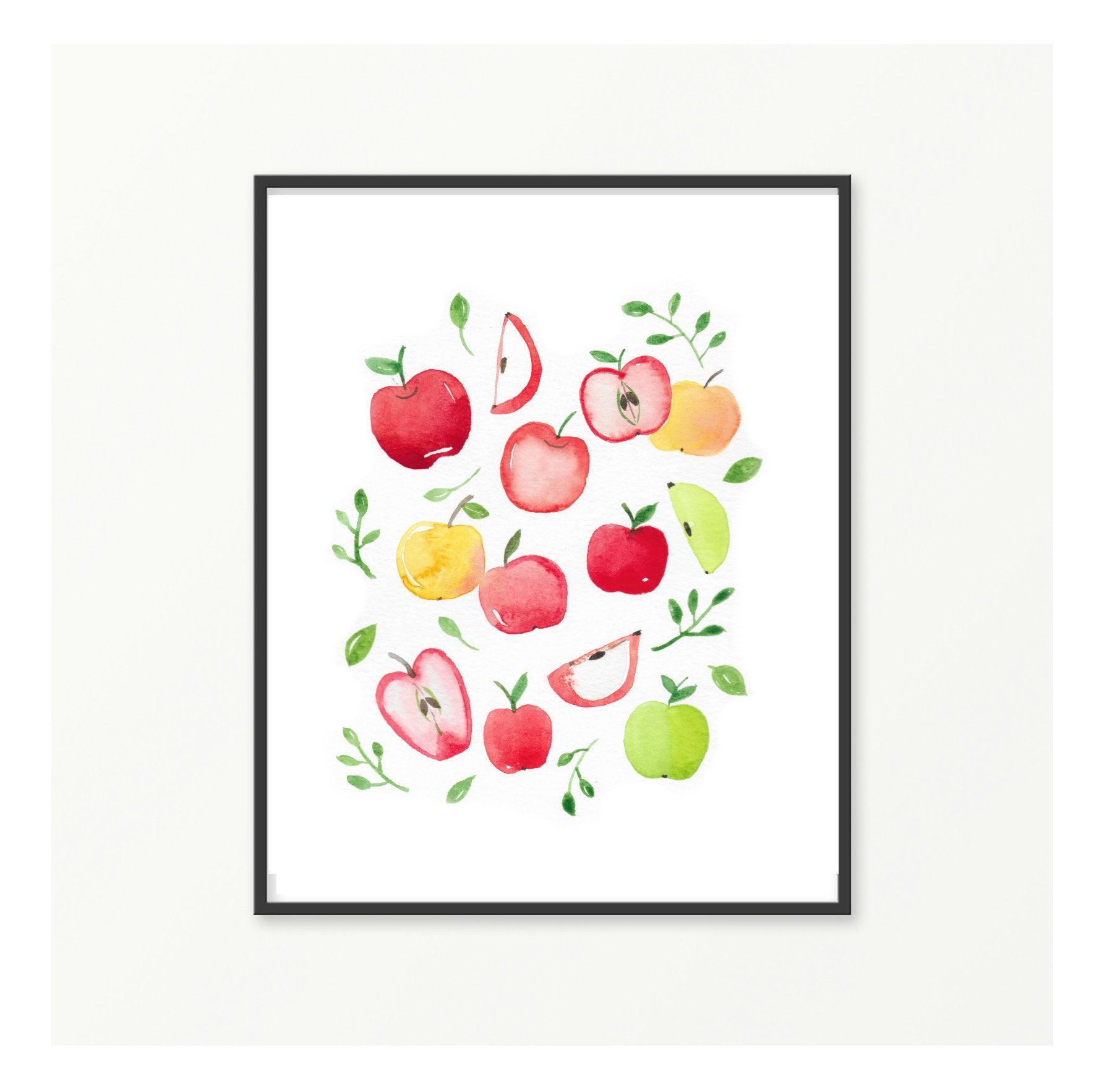 Impression, aquarelle minimaliste illustration de fruits