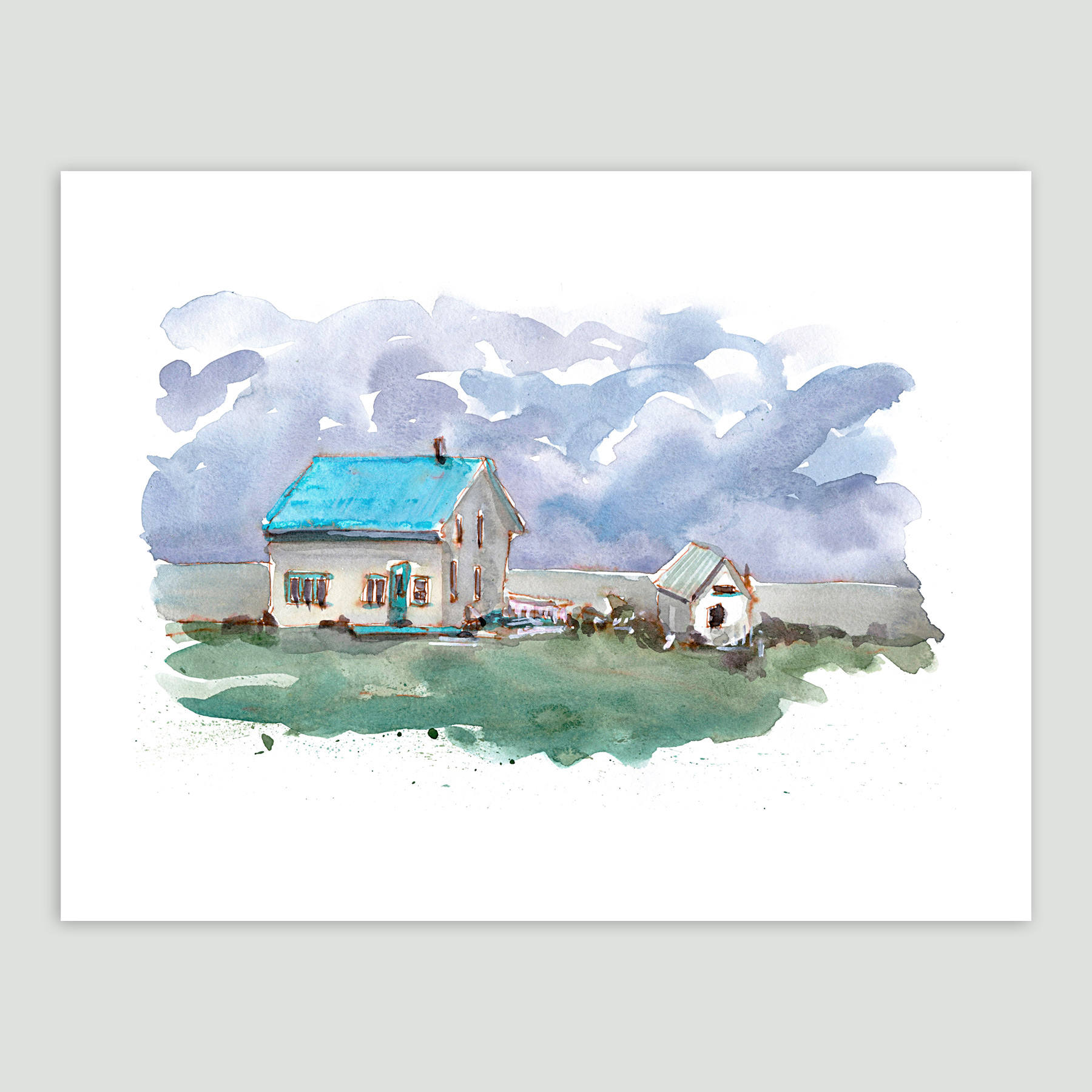 Aquarelle d'une maison côtière, peinte par Paintedstoriesco