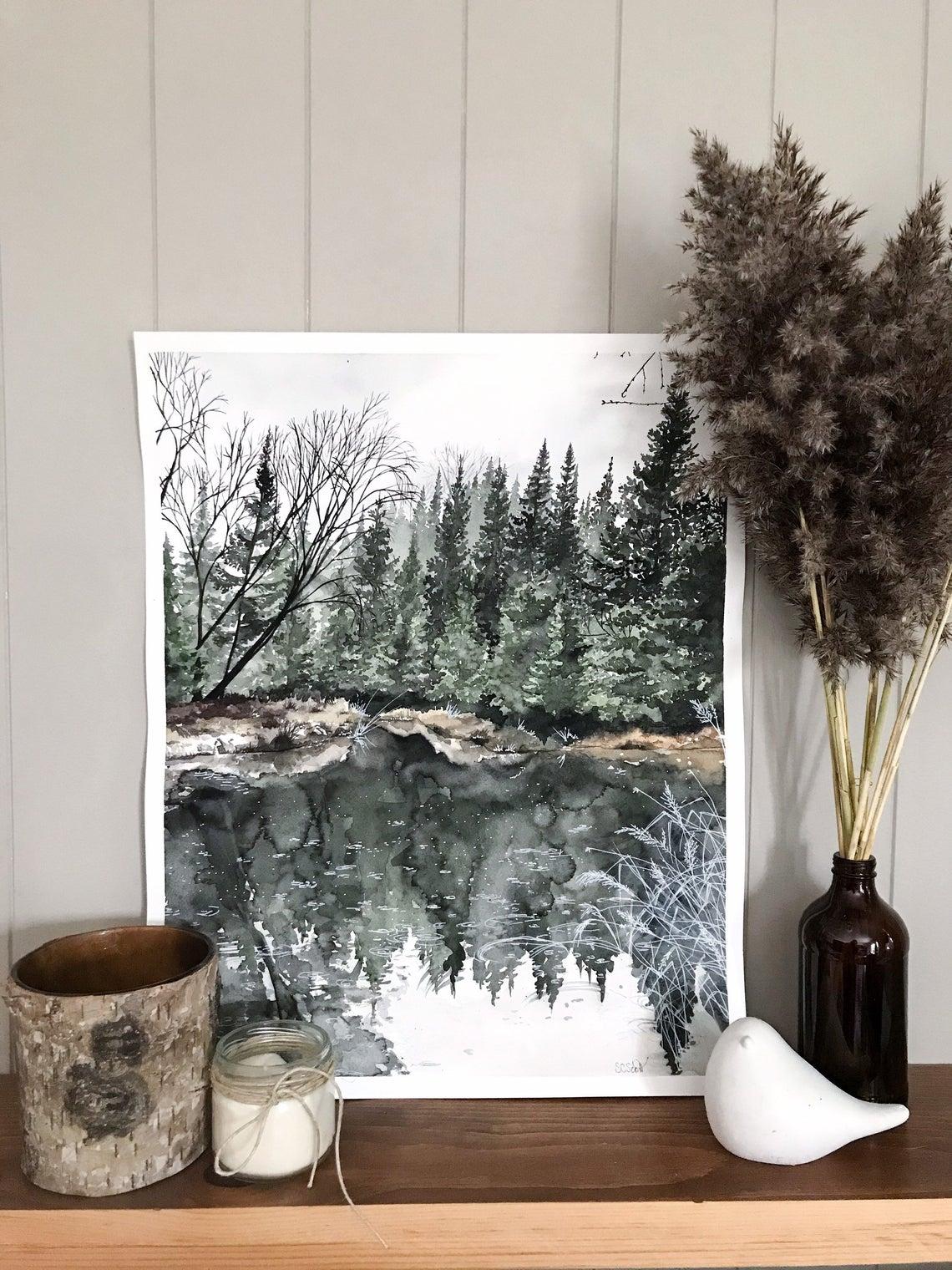 Aquarelle paysage rivière