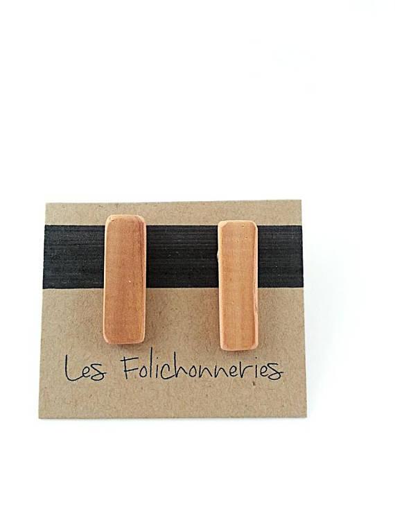 Bijoux en cèdre recyclé de Les Folichonneries