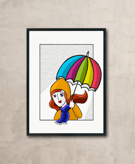 Young woman with a colourful umbrella illustration