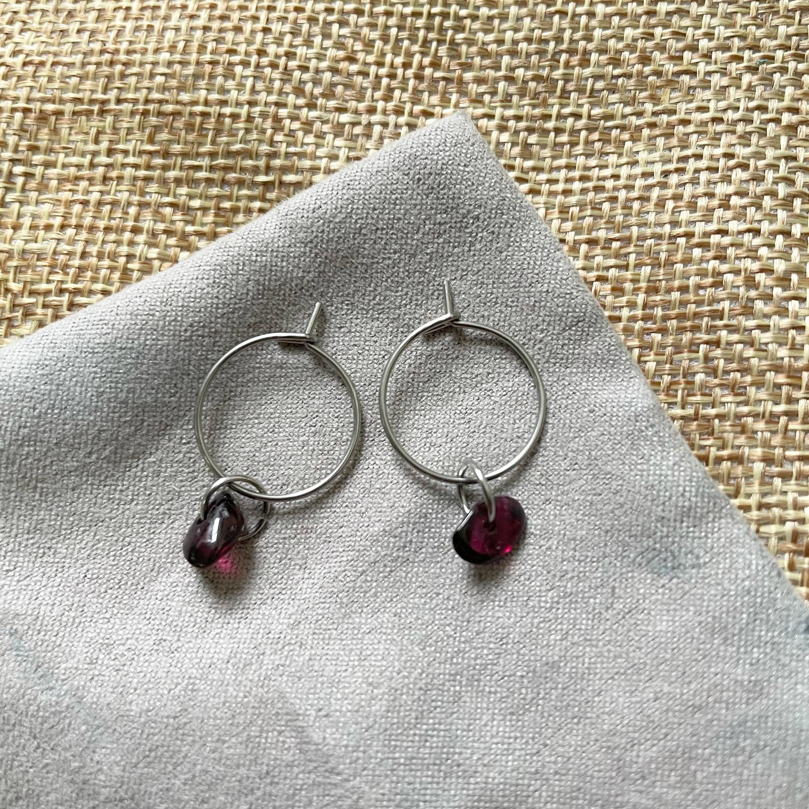 Garnet mini hoop earrings, 25$