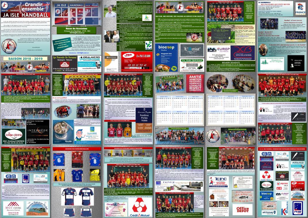 Plaquette 2018-2019 de la JA ISLE Handball à découvrir en cliquant sur l'image.