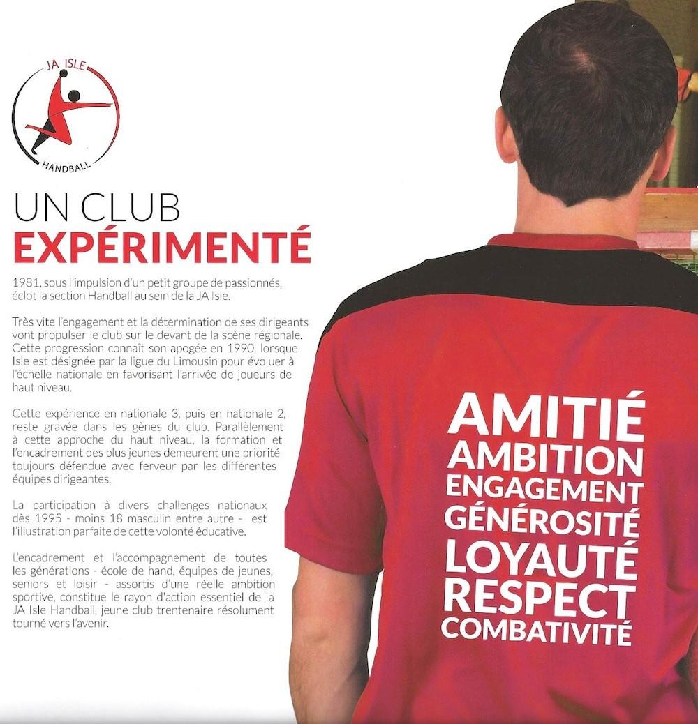Plaquette JA Isle Handball - Un club expérimenté