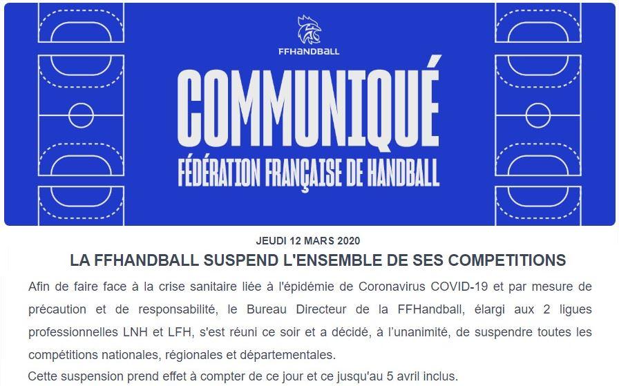 Communiqué de la Fédération Française de handball sur le Covid-19