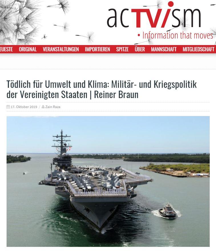 17.10.2019 - acTVism: Tödlich für Umwelt und Klima: Militär- und Kriegspolitik der Vereinigten Staaten | Reiner Braun