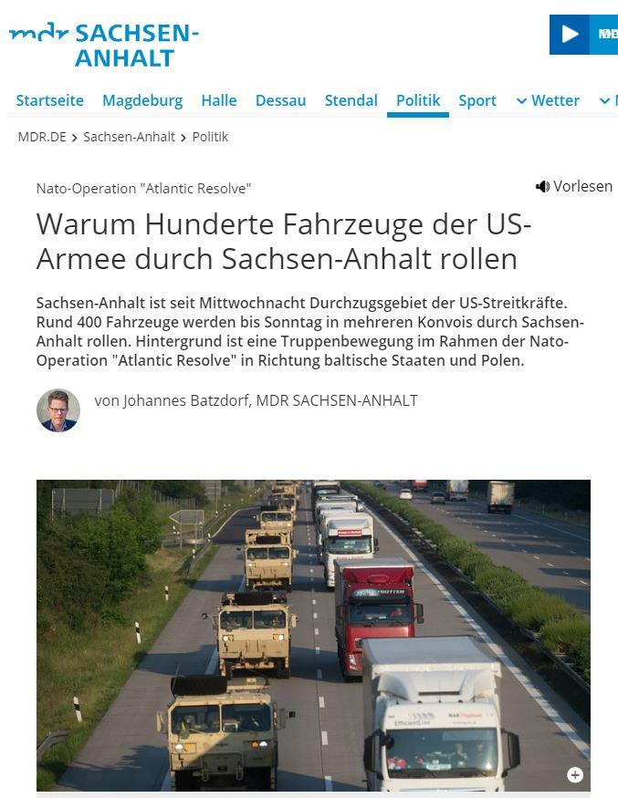 01.02.2019 - mdr: Warum Hunderte Fahrzeuge der US-Armee durch Sachsen-Anhalt rollen