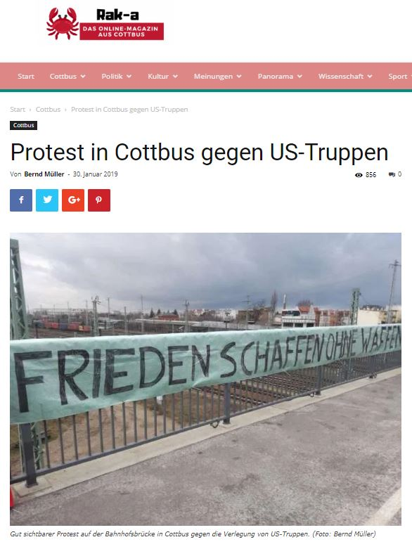 30.01.2019 - Rak-a Magazin: Protest in Cottbus gegen US-Truppen