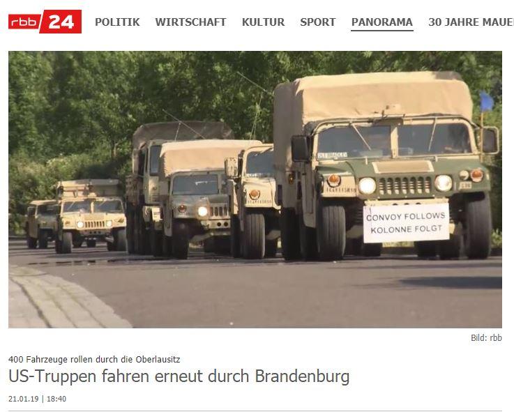 21.01.2019 - rbb: 400 Fahrzeuge rollen durch die Oberlausitz US-Truppen fahren erneut durch Brandenburg
