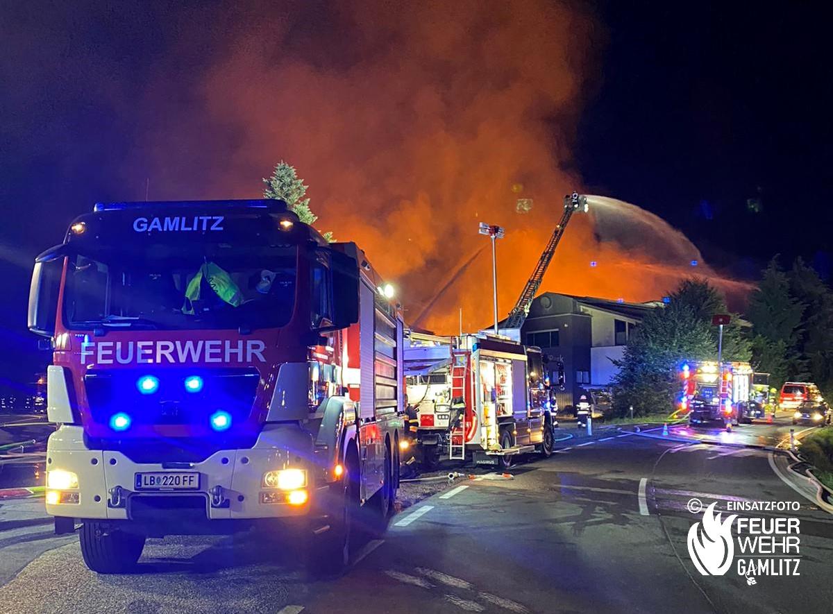 Grossbrand beim Eco-Park in Wernersdorf