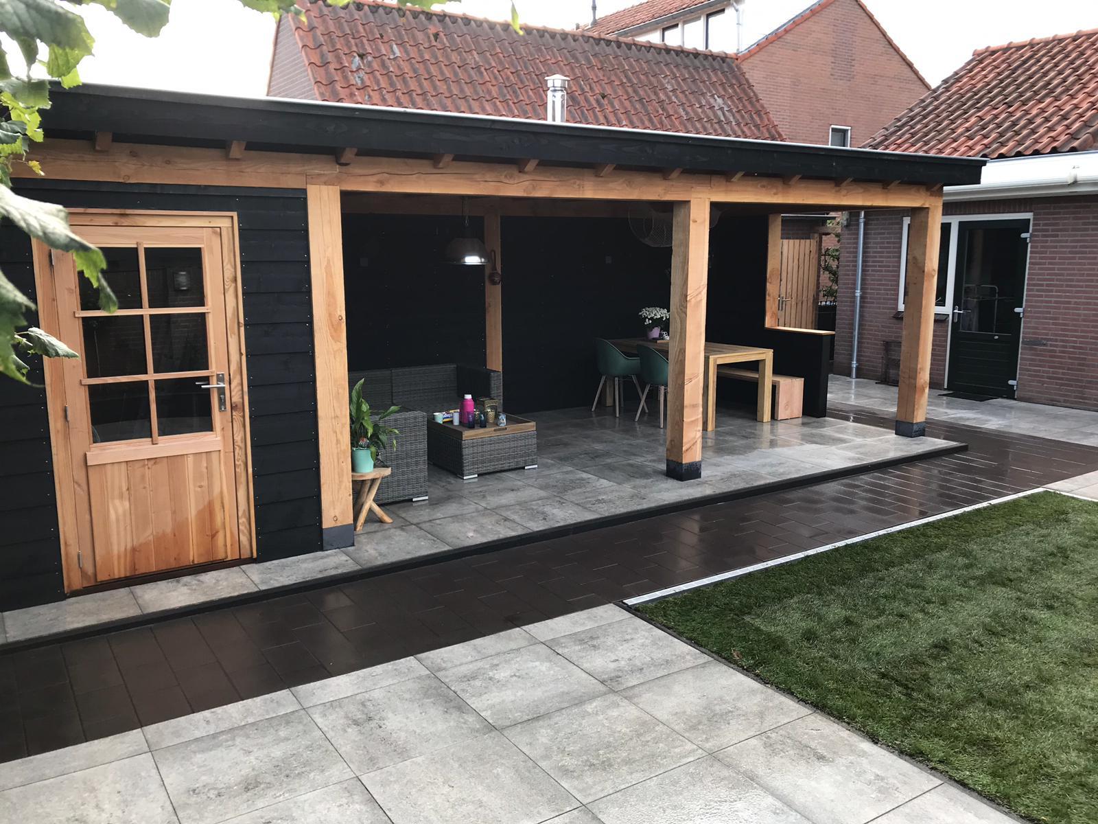 Bouw veranda met schuurtje + aanleg tuin