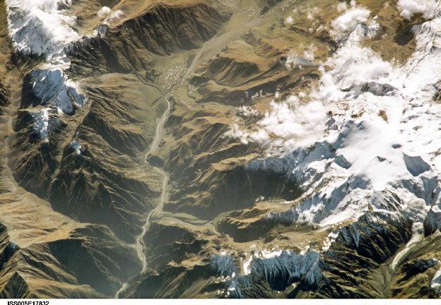 Georgian military road, town Kasbegi, Mount Kasbek, Greater Caucasus, Georgia (North to South)