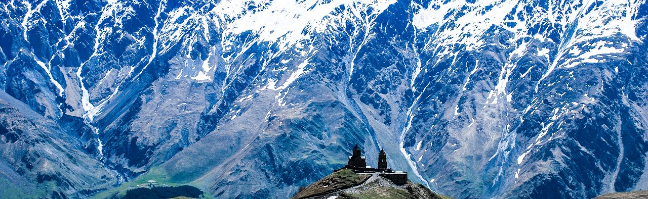 The most famous place near Kazbek is the ancient monastery of Saint Trinity Sameba which was built in XIV century on the high hill just above the Kazbegi village.