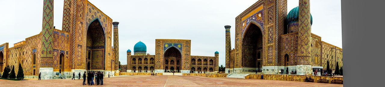 The Registan and its three madrasahs. From left to right: Ulugh Beg Madrasah, Tilya-Kori Madrasah and Sher-Dor Madrasah.