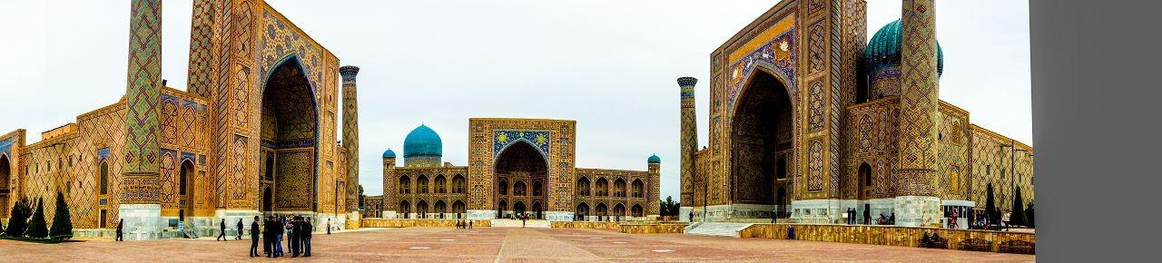 The Registan and its three madrasahs. From left to right: Ulugh Beg Madrasah, Tilya-Kori Madrasah and Sher-Dor Madrasah.