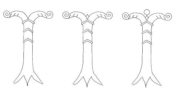 Symbolische Darstellung der Irminsul in 3 Versionen