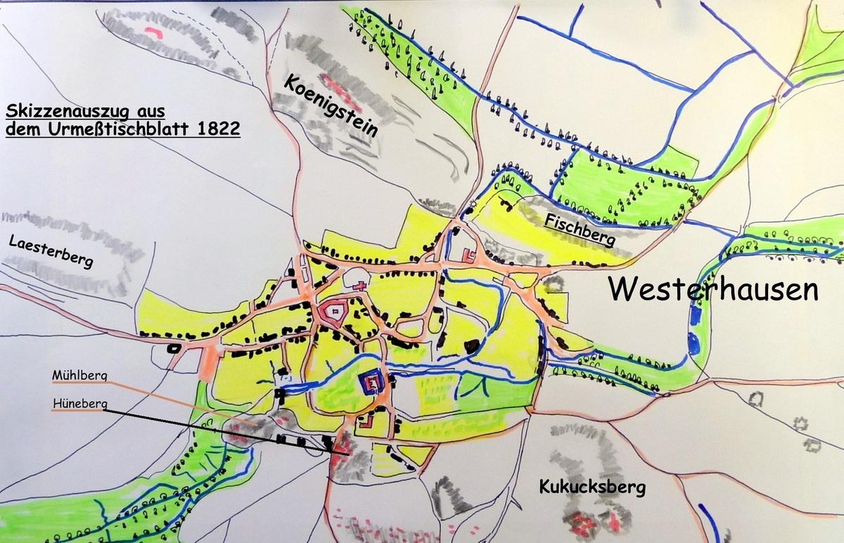 Rechts unter auf der Karte von 1822 sind beide Köpfe gezeichnet
