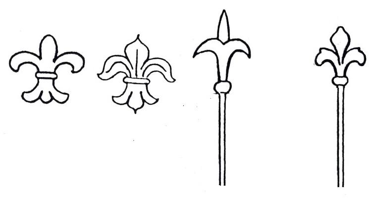 """Spätere Nutzung als """"Lilie"""" auf dem Zepter, der Krone oder heute als Zaunspitzen"""