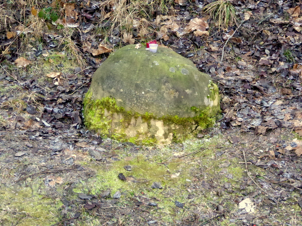 Zwischen Graben und Bahndamm liegt der Stein