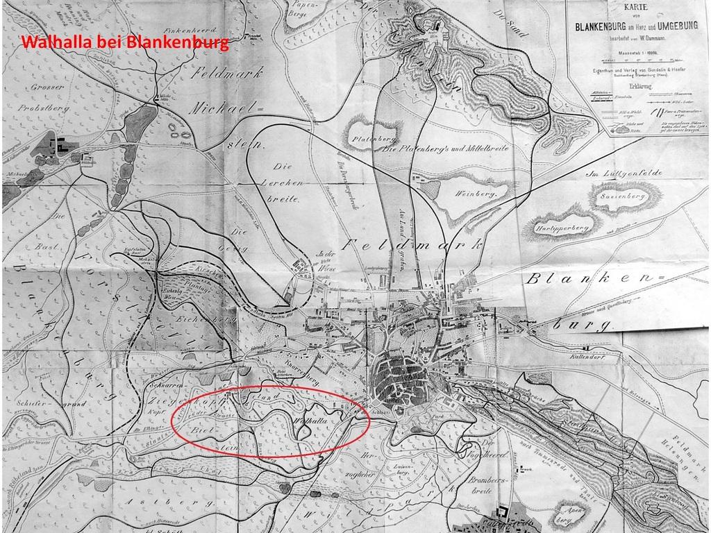 Historische Karte von Blankenburg ca. 1900