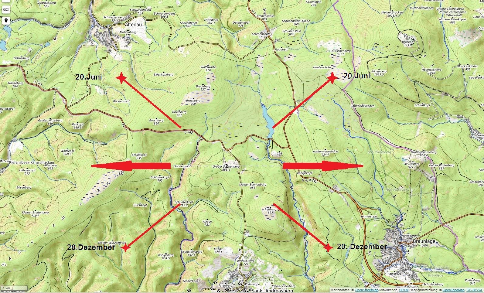 Lage des Sonnenberges mit Sonnenkopf, Wurmberg, Brocken usw.