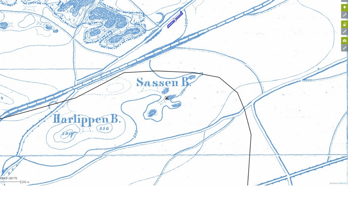 Lage des Berges auf historischer Karte