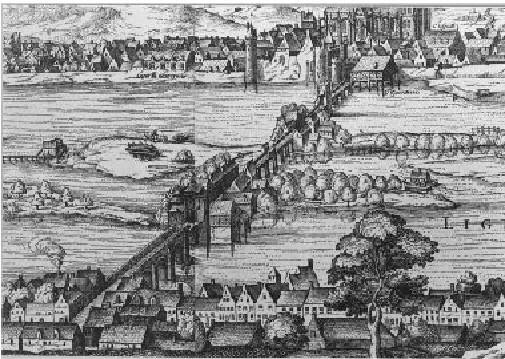 Vue de C. Visscher : vue panoramique de Tours vers 1625, détail : pont d'Eudes