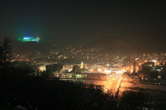Unser Schloss verwandelte der Lichtkuenstler Wolfgang Flammersfeld  in eine Maerchenwelt vom 22.1.2010 bis zum7.2.2010