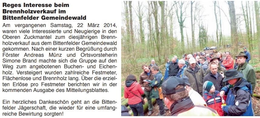 Beim Bittenfelder Brennholzverkauf gemeinsam mit Förster Münz (links mit roter Jacke: Simone Haist, Ortsvorsteherin)