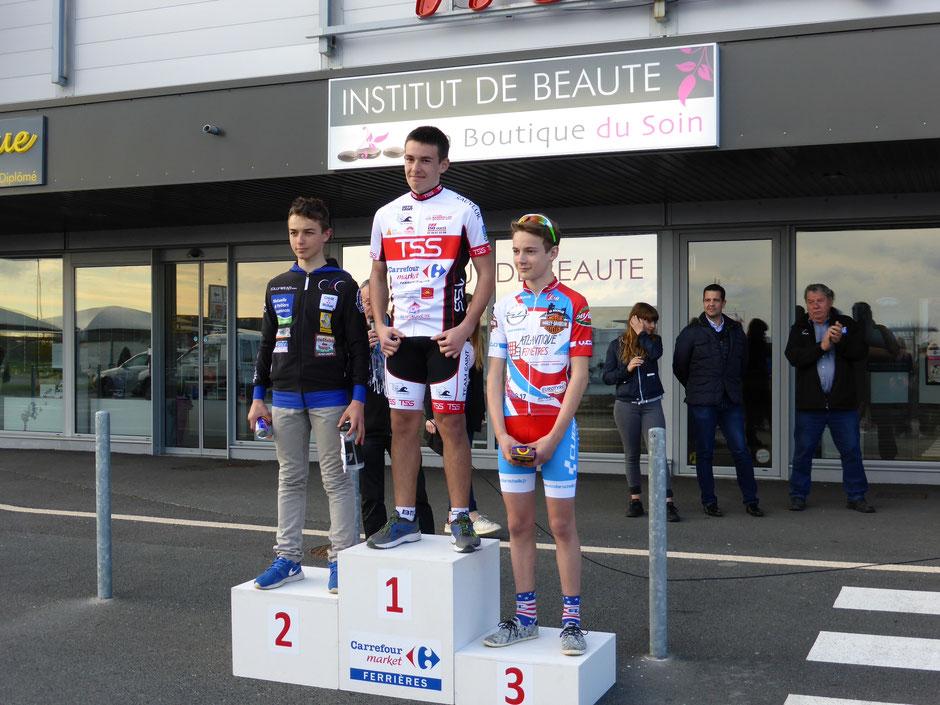 Anthony, 1ère victoire en minimes le 10 avril au grand prix Carrefour Market de Ferrières