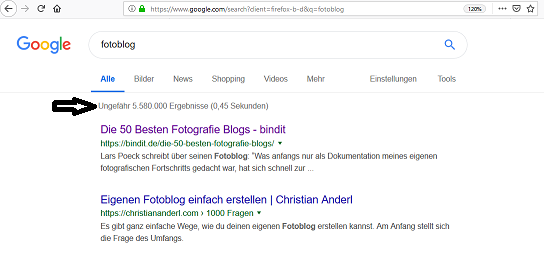 fotoblog ergbenisse bei google