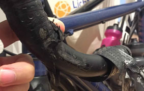 carbon handlebar abrasion crack  crash
