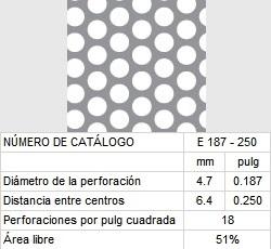 LAMINA PERFORADA BARRENOS REDONDOS E187-250 51% área libre