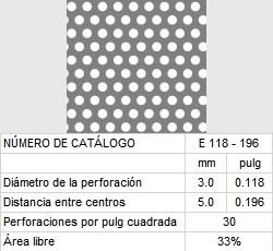 LAMINA PERFORADA BARRENOS REDONDOS E118-196 33% área libre