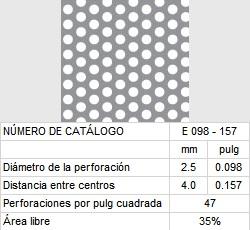 LAMINA PERFORADA BARRENOS REDONDOS E098-157 35% área libre
