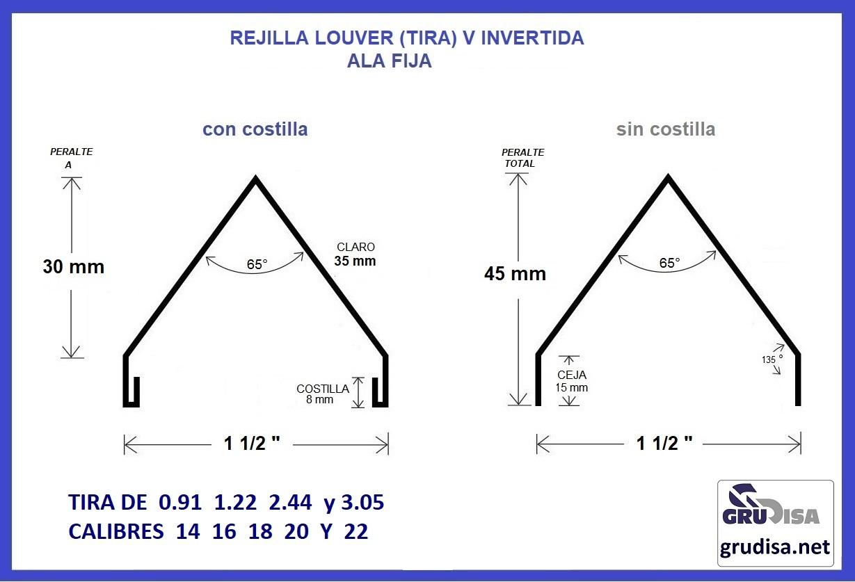 """REJILLA LOUVER (TIRA) V INVERTIDA CON Y SIN COSTILLA PARA PERFIL DE 1 1/2"""""""