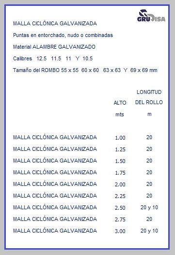 MALLA CICLÓNICA (CICLÓN) TABLA DE ESPECIFICACIONES