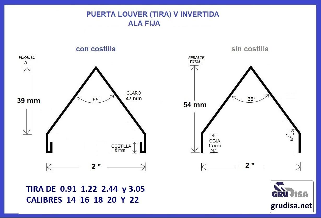"""PUERTA LOUVER (TIRA DE ALA FIJA) V INVERTIDA PARA ARMAR CON PERFILES DE 2"""" TIRAS DE  0.91  1.22  2.22 y  3.05 m"""