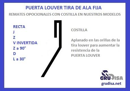 PUERTA LOUVER Z (TIRA) CON COSTILLA EN LOS REMATES
