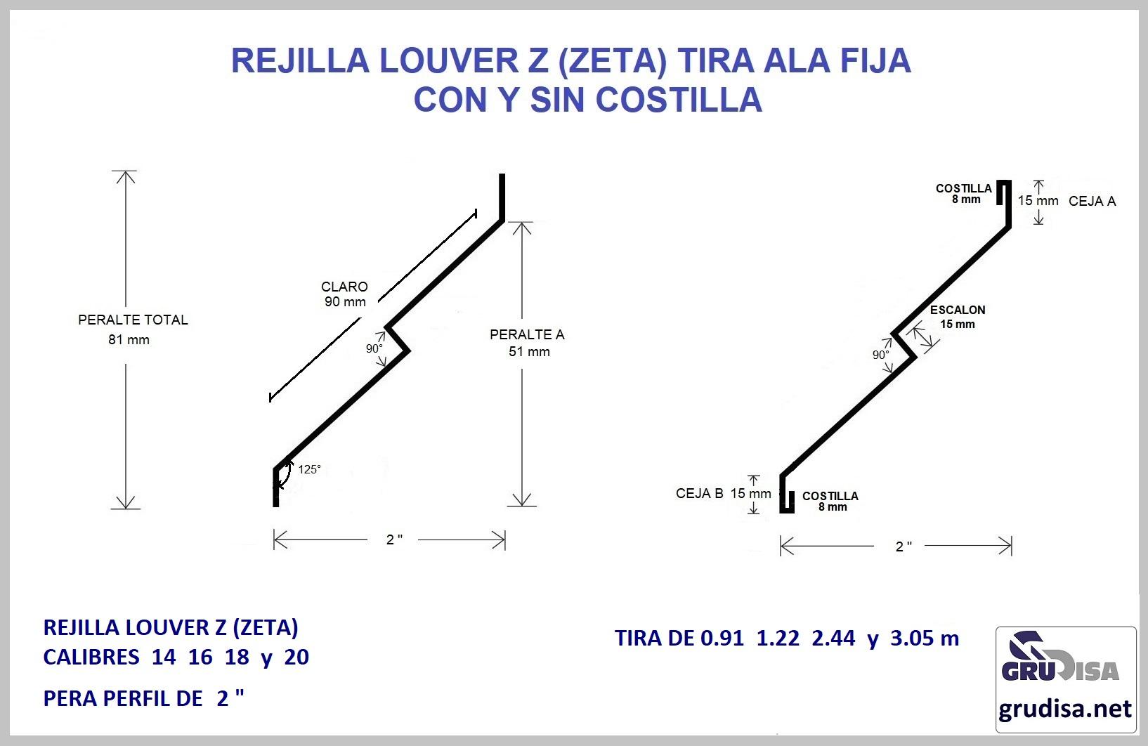 """REJILLA LOUVER TIRA ZETA PARA PERFIL DE 2"""""""