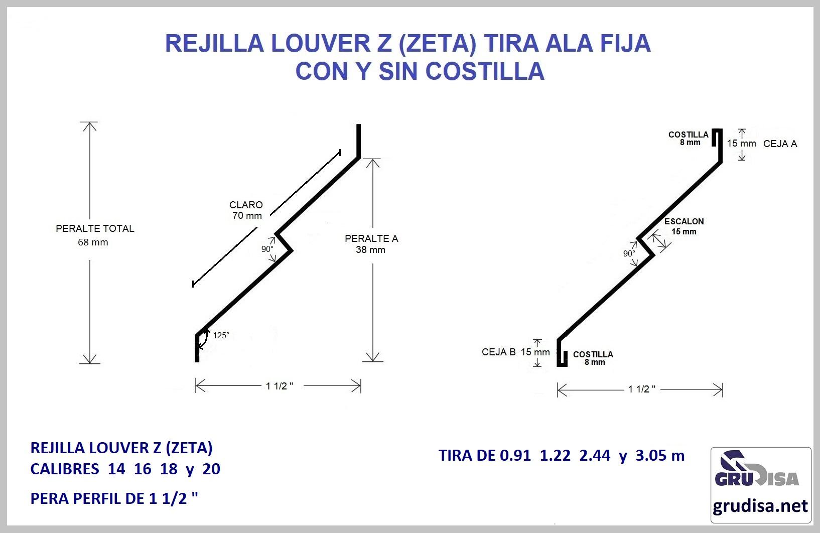 """REJILLA LOUVER TIRA ZETA PARA PERFIL DE 1 1/2"""""""