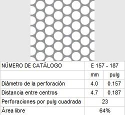 LAMINA PERFORADA BARRENOS REDONDOS E157-187 64% área libre